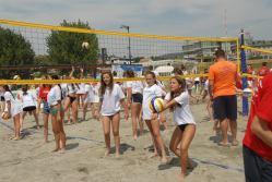 girls trying beachvolley Kosovo